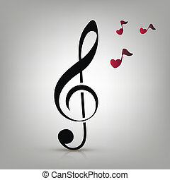 i love music concept - I love music concept, treble clef and...