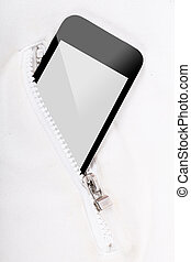 Smart phone inside pocket zip for connection someone