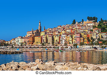 Multicolored houses of Menton, France. - Multicolored houses...