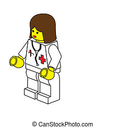 Lego doctor woman in white dress with surgical phonendoscope...