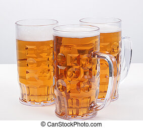 Lager beer - Many large glasses of German lager beer