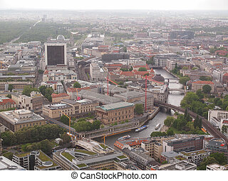 Berlin Germany - Aerial bird eye view of the city of Berlin...