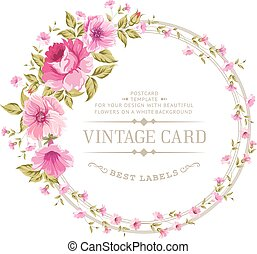 Luxurious color peony label. - Luxurious vintage card of...