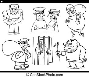 thieves and thugs cartoon set - Black and White Cartoon...