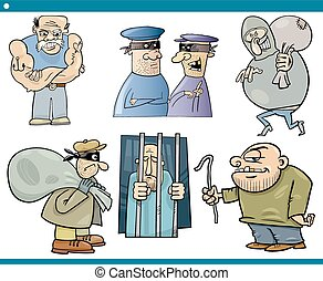 thieves and thugs cartoon set - Cartoon Illustration Set of...