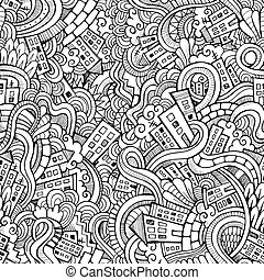 Cartoon vector doodles hand drawn town seamless patternr