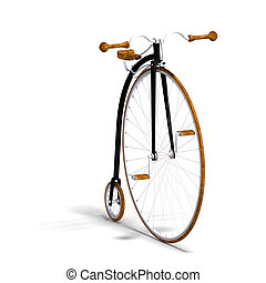high wheeler - rendering of a farthing with Clipping Path...