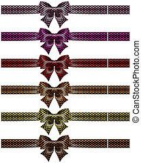 Holiday black polka dot bows with ribbons