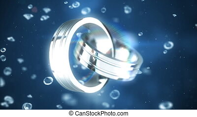 Platinum rings - Rotating platinum rings on background with...