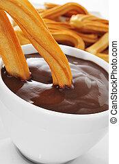bocado, dulce, churros, chocolate, español, estafar, típico...