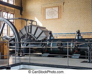 Machine room of historic steam pumping station - Inside the...