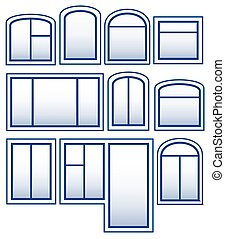 set blue isolated window silhouette on white background