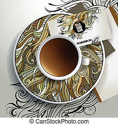 Vector Cup of coffee and floral ornament - Vector Cup of...