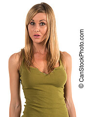 Tank top - Pretty petite blonde woman in an olive green tank...