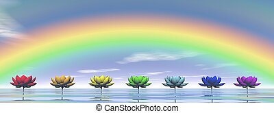 Chakras and rainbow - 3D render - Colorful lily flowers for...