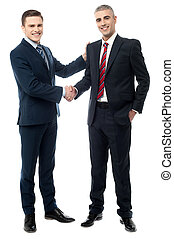 Successful businessmen shaking hands - Business handshake of...