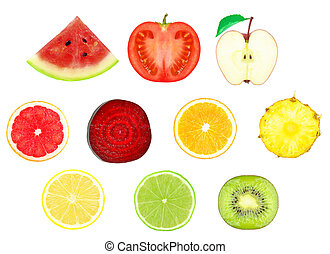 fruit slices  - juicy slices of fruit on a white background