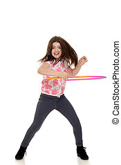 child doing hula hoop with motion blur on white background
