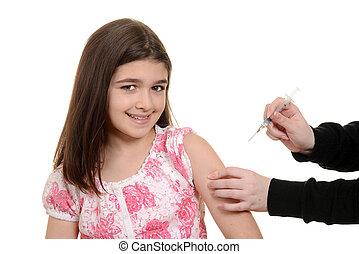 feliz, niño, obteniendo, inmunización