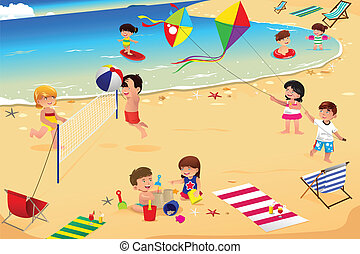 Kids on the beach - A vector illustration of happy kids...