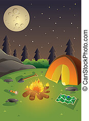 Youth summer camp poster - A vector illustration of youth...