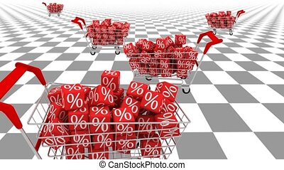 Shopping carts animation. Concept of sale.