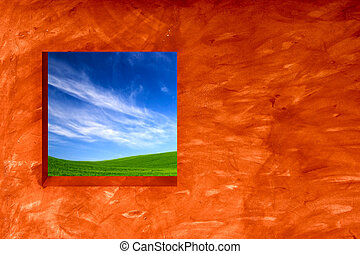 Spring Time - Orange wall with an open window for a...