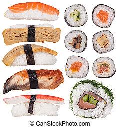 Japanese seafood sushi set, close-up.