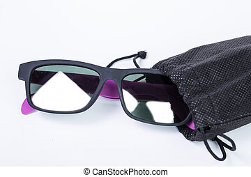 Sunglass bag black color isolated with white background