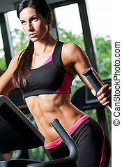 Fitness model. - Portrait of slender lean fit young brunette...