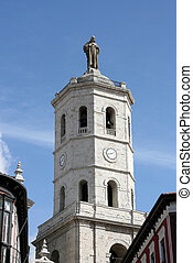 Valladolid cathedral tower. Old church architecture in...