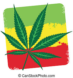 Leaf of cannabis marijuana and flag of Ethiopia isolated on...