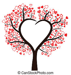 Tree with hearts isolated, vector