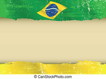 brazilian flag parchment - A brazilian flag with a large...