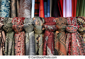 Textile shop - Colorful ornamental scarves in a shop in...