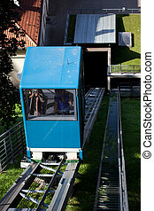 Funicular for the tourists on the Gediminas Hill in Vilnius,...
