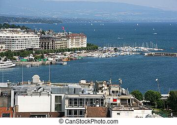 Geneva - Famous city of business - Geneva, Switzerland. Lake...