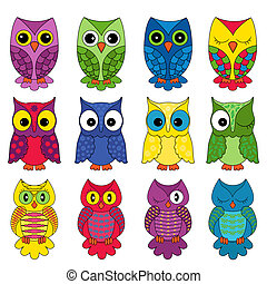 Set of sixteen owls - Set of sixteen colourful vector owls...