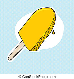 Lemon Popsicle - Lemon popsicle cartoon on halftone...