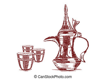 Old Style Hand Drawn Arabic Coffee