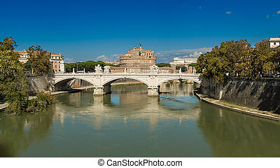 Rome Tiber River waterfront, views of the Castel Sant'Angelo