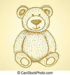 Sketch Teddy bear, vector vintage background eps 10