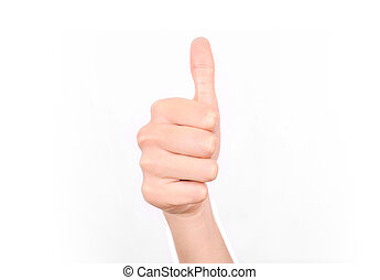 Thumbs up vote - Like - Female hand giving a thumbs up...