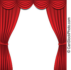 Luxury red curtain on white background