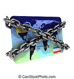3d Chained debit card - 3d render of a debit card wrapped in...