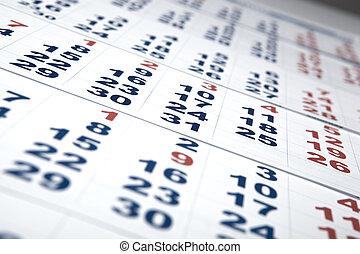 feuilles, mur, calendrier, nombre, jours