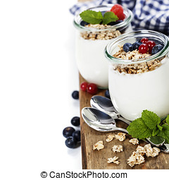 Healthy breakfast - yogurt with muesli and berries - health...