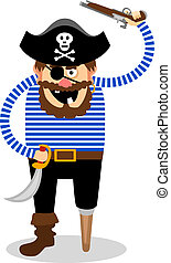 Vector pirate on a white background - Stereotypical vector...