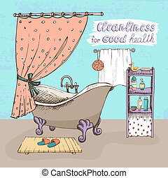 Cleanliness for good health concept showing a bathroom...