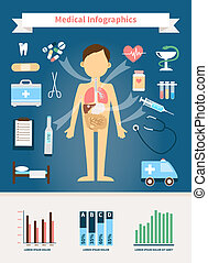 Healthcare and Medical Infographics. Human figure with...